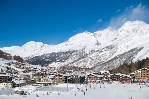 Saas-Fee as seen from the bottom of the slopes
