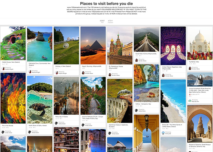 travel pinterest board